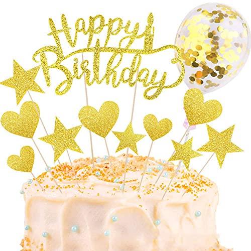 OUOQI Tortendeko,Sterne Glitter Cake Topper,Kuchen Dekoration Geburtstag,Kuchendekoration Geburtstag,Torten Kerzen,Cake Topper Happy Birthday,Kuchen Deko Mädchen,Cupcake Topper (Gold)