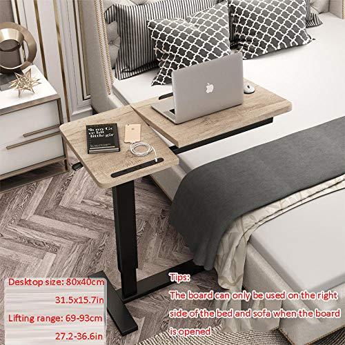 Stahlrohr Design Beistelltisch mit Gelbe Dichtetafel,Höhenverstellbar, Rollen, USB, Drehbar,Computertisch Eckschreibtisch für Bett, Tragbarer Laptop Computer Schreibtisch Ständer Picknicktisch Laptop
