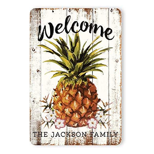 Personalized Welcome Pineapple Wall Decor Sign Vintage Rustic Look Home Signs