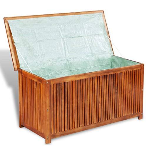 Nishore Garten Aufbewahrungsbox Aufbewahrungstruhe | Bank aus Massives Akazienholz Garten Sitztruhe | Truhenbank mit Stauraum Mit Futter 117 x 50 x 58 cm