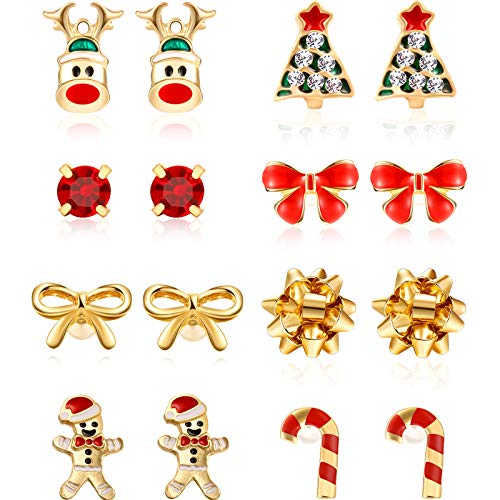 8 Pairs Christmas Charm Stud Earrings Set Assorted Xmas Festive Stud Earring for Women Girls