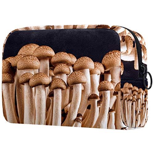 ATOMO Bolsa de maquillaje, bolsa de viaje cosmética grande bolsa de aseo organizador de maquillaje para mujeres, patrón de setas marrón fresco