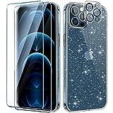 AROYI Funda Compatible con iPhone 12 Pro Crystal Glitter Brillo Transparente Carcasa,TPU de Silicona Suave y Resistente, 2 Piezas Protector de Pantalla y Vidrio Templado Protector Lente Cámara