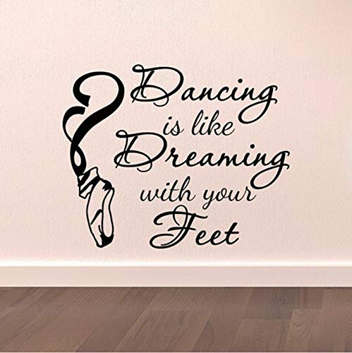 hwhz 51 X 42 cm Dance Wall Decal Stickers Dancing is Like Dreaming with Your Feet Quotes Dancer Ballerina Ballet Pointe Shoes Art Vinyl