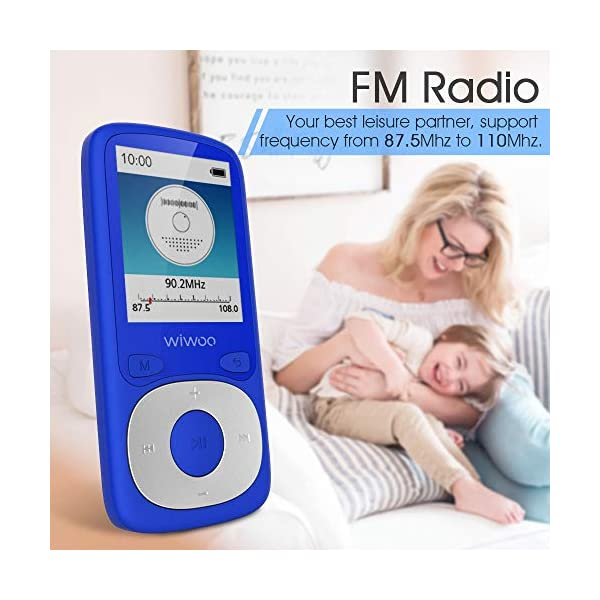 Bluetooth MP3 Player with FM Radio, 16GB Portable HiFi Lossless Sound Music Player with Voice Recorder, Armband, Headphones by Wiwoo