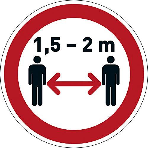 Durable 104103 Bodenaufkleber Abstand halten 1,5-2m, ablösbar, Ø 43 cm, rot-weiß