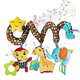 WolinTek Juguetes Colgantes Espiral de Animales para Cuna Cochecito Carrito bebés Recien Nacidos Peluche con Mordedor para niños,Juguete de Peluche en Espiral para Cochecito de bebé
