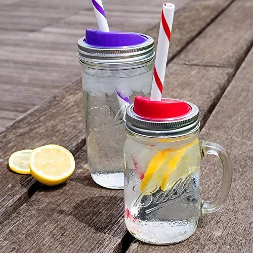 Ball Mason Jar Sip & Straw Lids Set – BPA-Free & Dishwasher Safe - Great for Toddler, Kids & Adult Drinks, Fits Wide Mouth Jars, Reusable Set of 4, Red, Blue, Purple – 3 Pack