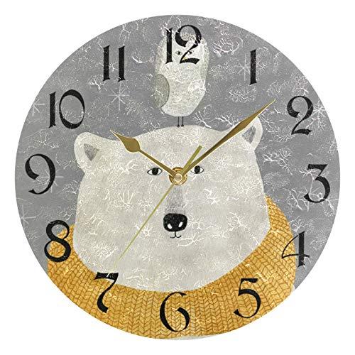 ART VVIES Reloj de Pared Redondo de 10 Pulgadas sin tictac Silent Gold Pointer Funciona con Pilas Oficina Cocina Dormitorio Decoraciones para el hogar - Oso Polar con búho