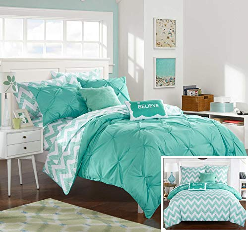 Chic Home 7 Piece Louisville Pinch Chevron Print Reversible Bed in a Bag Comforter Set Sheets, Twin X-Large, Aqua