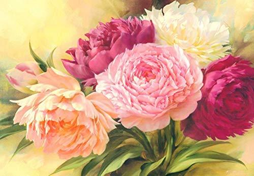 Diamant-schilderij, 5D, om zelf te maken, vierkant, diamant, pioenrose, bloem, 45 x 30 cm, kruissteekset, kristallen borduurwerk, decoratie, handwerk