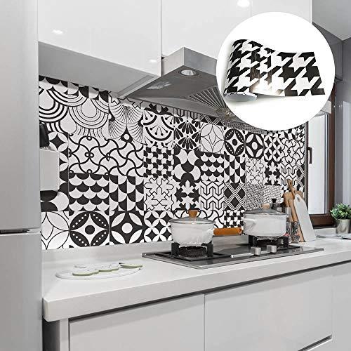 20cmx500cm Adesivi per Piastrelle Stile retrò Decorazione per Scale Adesivi per Pavimenti in PVC Autoadesivi Cucina Bagno Vinile Adesivi Murali Adesivo per Piastrelle -Nero