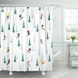 JOOCAR Design Duschvorhang, Ski kleine Figuren von Skifahrern Eis & Bäumen, wasserdichter Stoff Stoff Badezimmer Dekor Set mit Haken