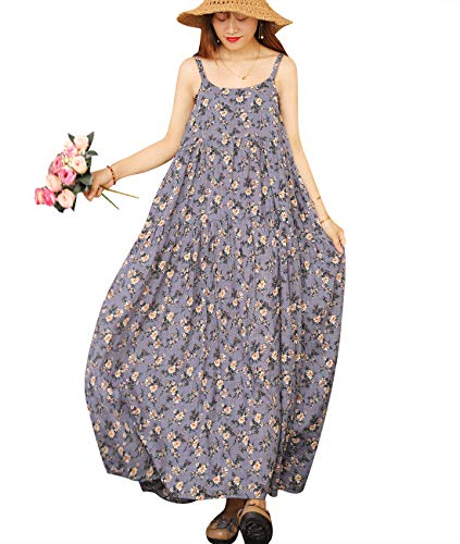 YESNO Women Casual Loose Bohemian Floral Print Empire Waist Spaghetti Strap Long Maxi Summer Beach Swing Dress XS-5X E75-CR8-4XL