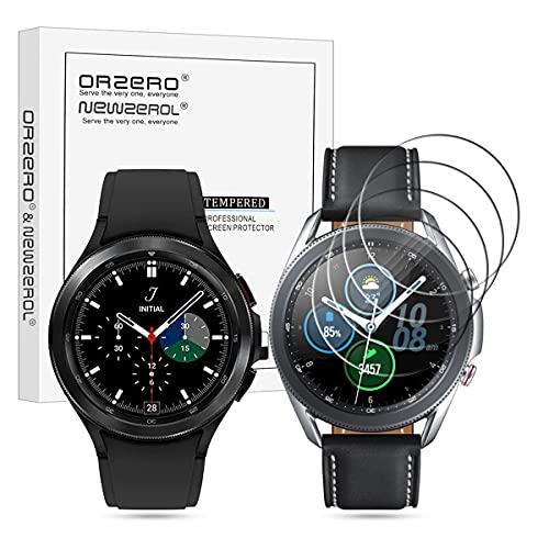 NEWZEROL 4 Stücke Kompatibel für Samsung Galaxy Watch4 Classic 46mm / Galaxy Watch 3 45mm Panzerglas [Geprüft] SM-R890N aus gehärtetem Glas, Hochauflösende Bildschirmschutzfolie Blasenfreie Schutzfolie