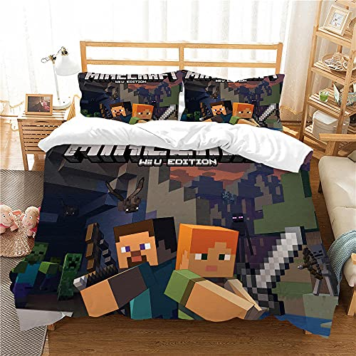 Juego de Funda Nórdica Cama 180 - 260x220 cm Minecraft Juego Fundas para Edredón para Ropa de Cama de Matrimonio con 2 Fundas de Almohada 50x75 cm para Infantil Adultos