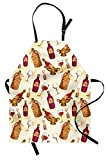 Lunarable Winery Apron, Vintage Pattern with Glass Bottle Corkscrew Country Restaurant Table, Unisex Kitchen Bib with Adjustable Neck for Cooking Gardening, Adult Size, Brown Fuchsia