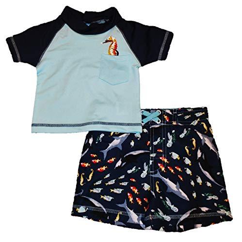 Mick Mack Toddler Boys' Two Piece Rash Guard Shirt and Swim Trunks Set, Blue Seahorse (12M)