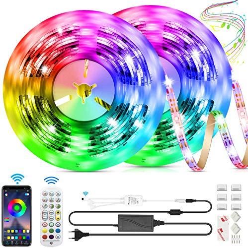 LED-Lichtbänder,10M Bluetooth-Streifenbeleuchtung Musiksynchronisation LED-Leuchten RGB-LED-Lichtleisten APP-gesteuerte LED-Lichtleisten mit Fernbedienung für Home-TV-Küchenparty