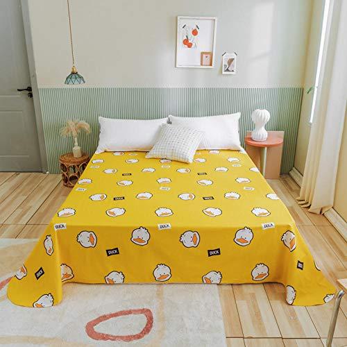 Claean-Acces-Home Bed Sheet Fitted Sheets Mattress New Cotton Sheet Sheet Piece Small Fresh Cartoon Double Cotton Quilt Sheet.-Little Yellow Duck_2.45 * 2.7M
