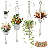 GeeRic macetas Colgantes Colgador para Plantas, 8PCS Mesh Hanging Planters + 4 Gancho...
