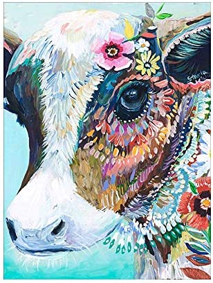 DIY 5D Diamond Painting Kit for Kids Colorful Cow Picture Diamond Cross Stitch Animal Diamond product image