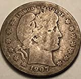 1907 O Barber Quarter Quarter Good