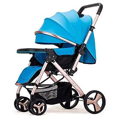 JCSW Cochecito De Bebé, Cochecitos, Baby Sit Cesta Lie Luz Fold / 0~3 Bebé De La Edad del Bebé Portátil Carretilla Niño, Z034YX (Color : Blue)