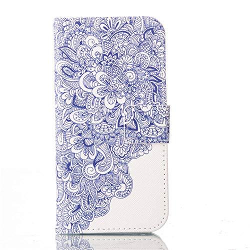 Estuche para teléfono Tipo Bandolera Estuche de época para Q6 Plus V30 V20 V10 K7 K10 K8 K8 K8 K8 2017 G6 Mini G3 Libro de Cuero Flip Design Wallet Funda P21e (Color : Flow, Size : LG G3 Mini)