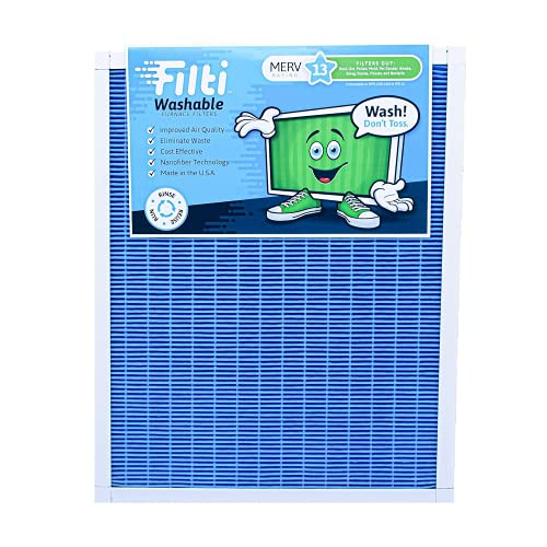 Filti 16x20x1 Air Filter MERV 13, Washable Pleated HVAC Furnace Filters. 100% Made in the USA.