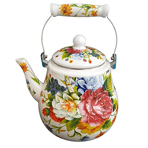 Enamel Stove Top Kettle Large Capacity Enamel Kettle Teapot 5 Liters Pear-Shaped Peony Floral Fragrance