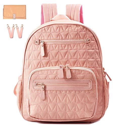 Diaper Bag Backpack, Travel Diaper Backpack with Charging Port, Diaper Bag with Stroller Hanger,Thermal Pockets,Handbag,Changing Pad, Grils.Fabric Large Best Gif (pink)