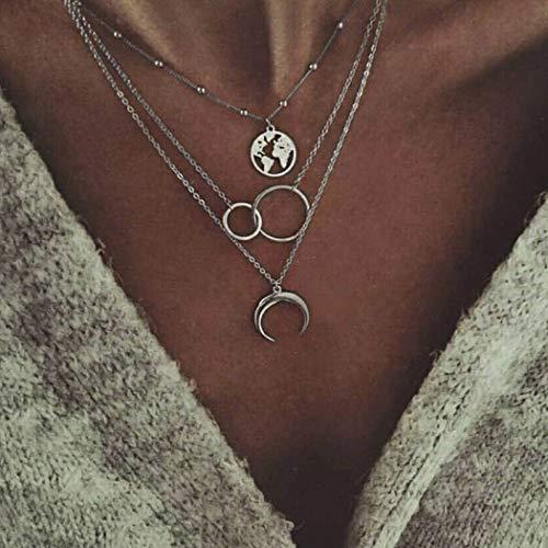 Mayelia Collar de plata con colgante de luna de verano, collar de mapa de playa, cadena para mujeres y niñas