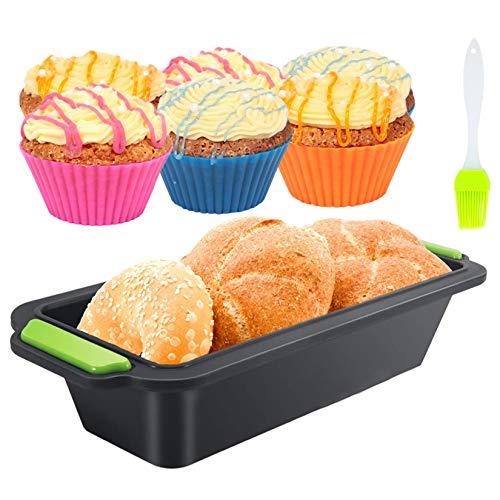Juego de moldes de silicona antiadherentes para pan de tostadas, 12 en 1, de silicona antiadherente, molde para hornear de fácil liberación para pasteles caseros, panes, panqueques (11.5 pulgadas)