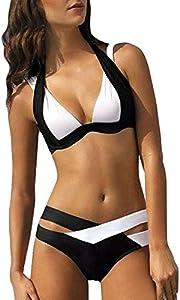 Bikini Mujer Push Up Lanskirt Costura de Color de Moda Bikini Conjunto de Ropa Interior Bragas Conjunto Bikini Elegante Trajes de BañO Mujer 2019 Dos Piezas BañO BañAdor
