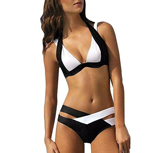 OIKAY 2019 Bikinis Teenager mädchen Sylvie Swimwear Sale Damen Bikinis Strand Bikini-Sets Frauen Bademode Push up BH Bandeau Bikinioberteil Badeanzug(Schwarz,L)