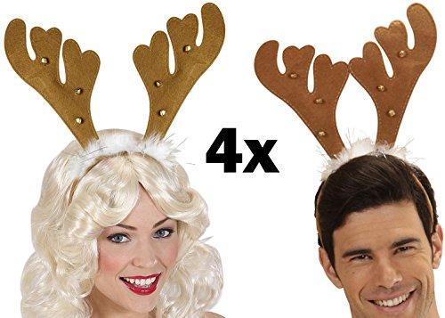 Party-Teufel® 4 Stück braune Rentier Hörner Haarreifen mit 6 Glöckchen und Marabufedern Weihnachten Weihnachtsfeier Nikolausfeier Weihnachtsmarkt