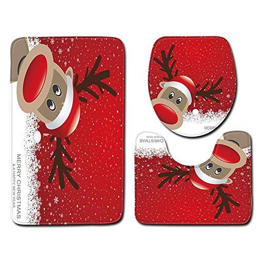 Juego de 3 alfombrillas de baño impermeables con impresión navideña, Venado