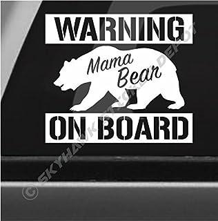 Mama Bear On Board Funny Bumper Sticker Vinyl Decal Sticker Warning Sticker For Car Truck Van SUV Window, Joke Prank Sticker