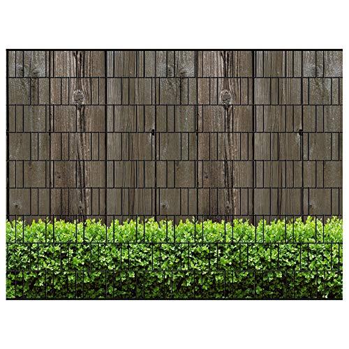 PerfectHD Zaunsichtschutz - Efeu Zaun - Motiv Holzwand und Buxus - Sichtschutz für den Garten - 2,50 x 1,80 x 0,19 m - 9 Streifen - 30 Varianten