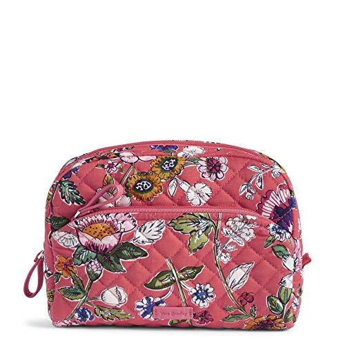 Vera Bradley Women's Signature Cotton Medium Cosmetic Makeup Bag, Coral Floral, One Size