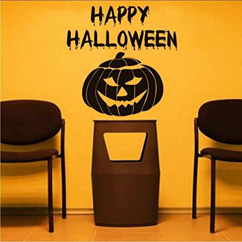 Happy Halloween Pompoen Masker Verwijderbare Vinyl Muurstickers DIY Western Home Decor Creatieve Items voor Woonkamer 58 * 58Cm