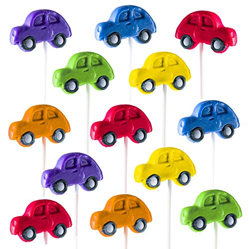 Prextex Car Lollipops - Kiddie Car Shaped Suckers for Birthdays Party Favors, Car Shows and Auto Events - Pack of 12 (1 Dozen)