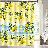 Bonhause Duschvorhang 180 x 180 cm Zitrone Gelbe Frucht mit Blätter & Blume Duschvorhänge Anti-Schimmel Wasserdicht Polyester Stoff Waschbar Bad Vorhang für Badzimmer mit 12 Duschvorhangringen