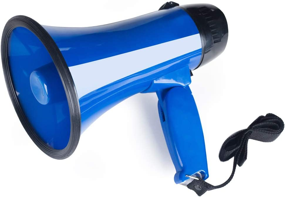 MyMealivos Portable Megaphone Bullhorn 20 Watt Power Megaphone Speaker Voice and Siren/Alarm Modes with Volume Control and Strap
