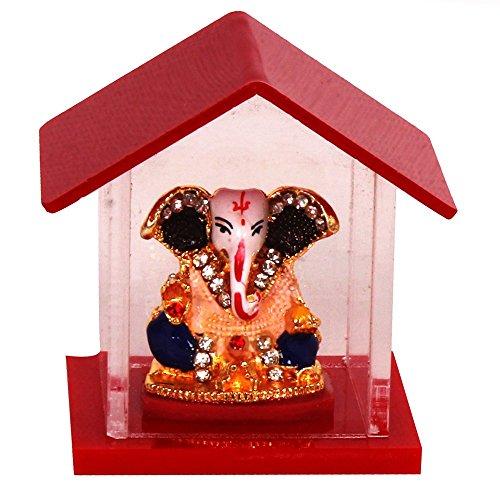 purpledip Hindu Religieuze God Ganesha miniatuur beeld toonbeeld toonbeeld voor thuis tempel, winkel counter/rek, of bureau tafel (10142)