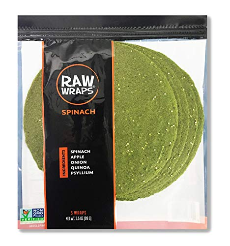 Spinach Wraps | Vegan | Raw | 60 Calories (Single Bag)