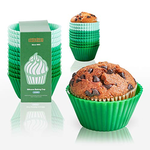 JACOBAKE Silicone Cupcake Baking Cups, 24 Packs Upgrade Thicken Nonstick Reusable Cupcake Liners, BPA Free, Easy Release Silicone Muffin Cups, Standard Size, Green