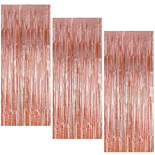 3 Stück Metallic Lametta Vorhang, 1 x 2 m Folie Fransen Vorhänge, Glitzer Tinsel Schimmer Vorhänge, Hintergrund Fringe Vorhänge für Party Geburtstag Hochzeit Tür Fenster Dekoration (Roségold)