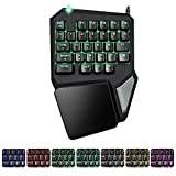 XFUNY Gaming Keypad One-Handed Keyboard 30 Keys Mechanical Feel Wide Hand Rest E-sports Dedicated 7 Color Backlight Keyboard for DOTA / OW / PUBG / Fortnite (30-Key)